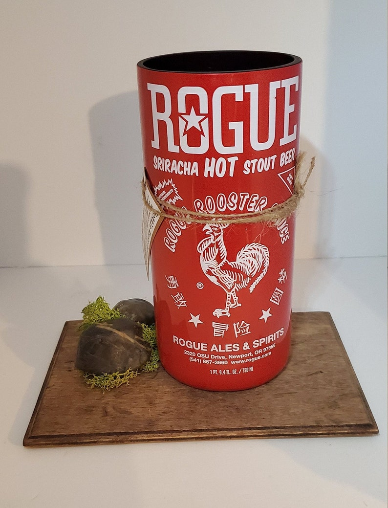 Man Cave Rogue Beer Sriracha Soy Candle Hot Sauce Wooden Wick