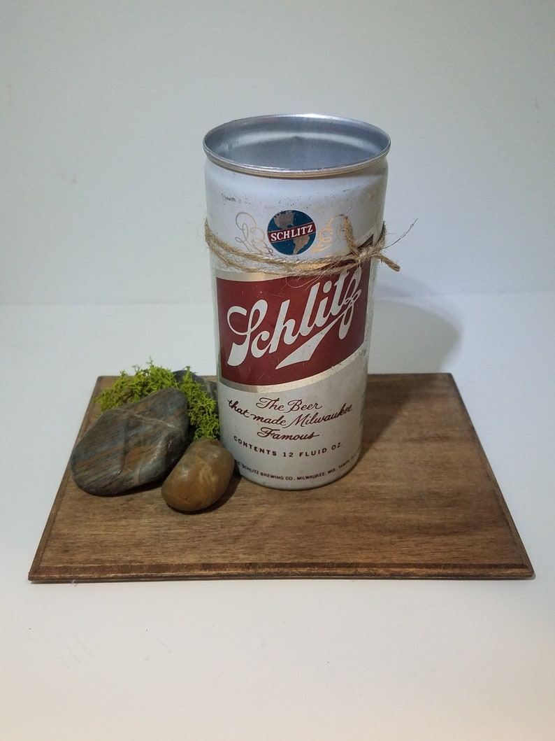 Man Cave Vintage Schlitz Beer Soy Candle Unique Gifts Wood Wick Birthday