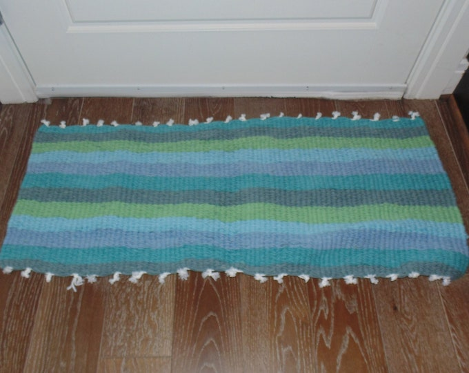 Extra Wide Stripes Blue and Green Handmade Door Bath Kitchen Mat or Rug