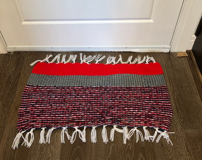 Red White and Blue Handmade #Doormat, Kitchen, Bathroom, Shower, Patio Indoor / Outdoor Rug #America