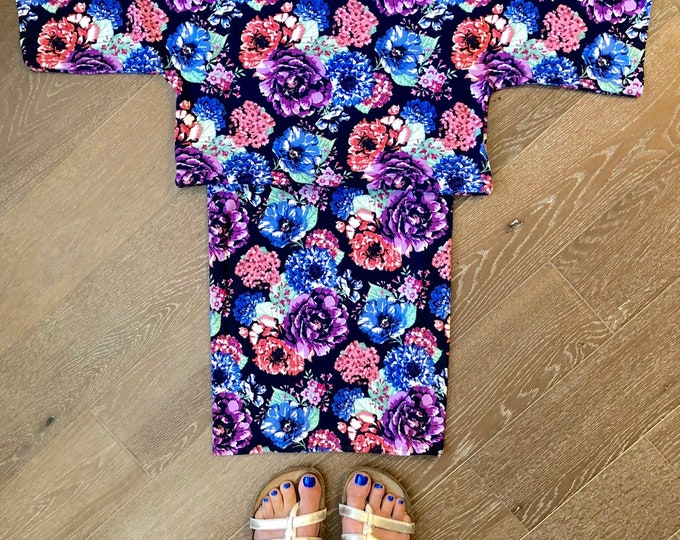 NEW Handmade, Floral (Black, Purple, Red) Short Sleeved Crop Top and Skirt