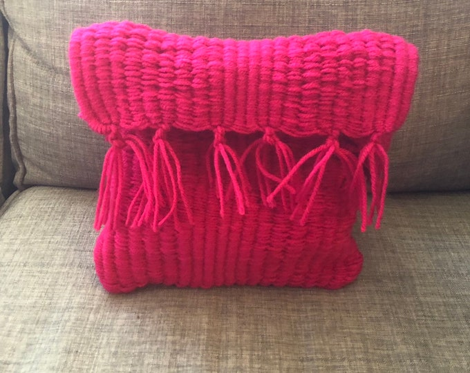 Unique Hot Pink, Handmade, Handsewn Crossbody Handbag or Purse with Tassels and Strap