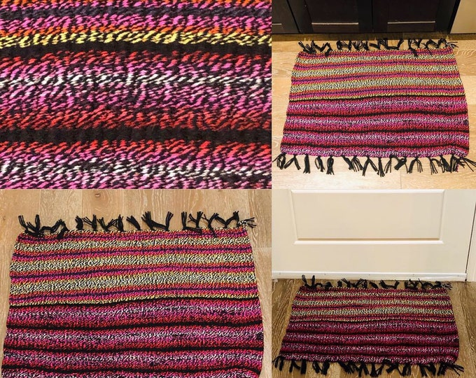 Red Pink Orange Black Twisted Striped Doormat,  Kitchen, Bathroom, Patio Inside Outside Rug