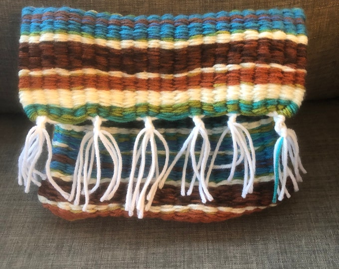 Unique Peruvian Style, Brown Cream and Blue, Handmade, Handsewn Handbag or Purse with Tassels, (Add-On Strap), Bag Insert, Cosmetics Holder