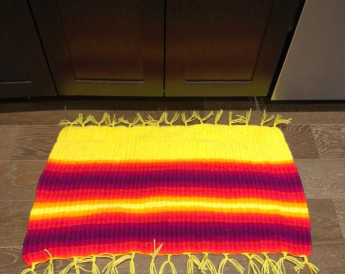 Featured listing image: Bright Yellow Pink and Purple Handmade #Doormat, Kitchen, Bathroom, Shower, Patio Indoor / Outdoor Rug