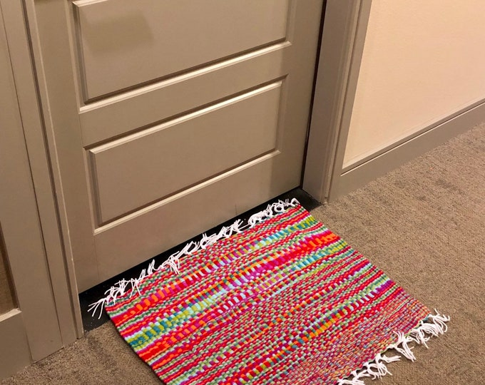 Far Out Mat (Orange, Fuchsia, Red, Green,blue) Handmade #Doormat, Kitchen, Bathroom, Shower, Patio Indoor / Outdoor Rug