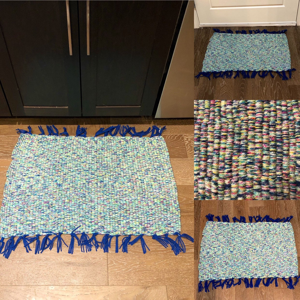 Meadow Themed Blue Green Pastels Handmade Doormat