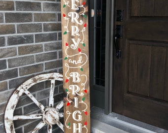 Merry And Bright ~ Wooden Porch Sign