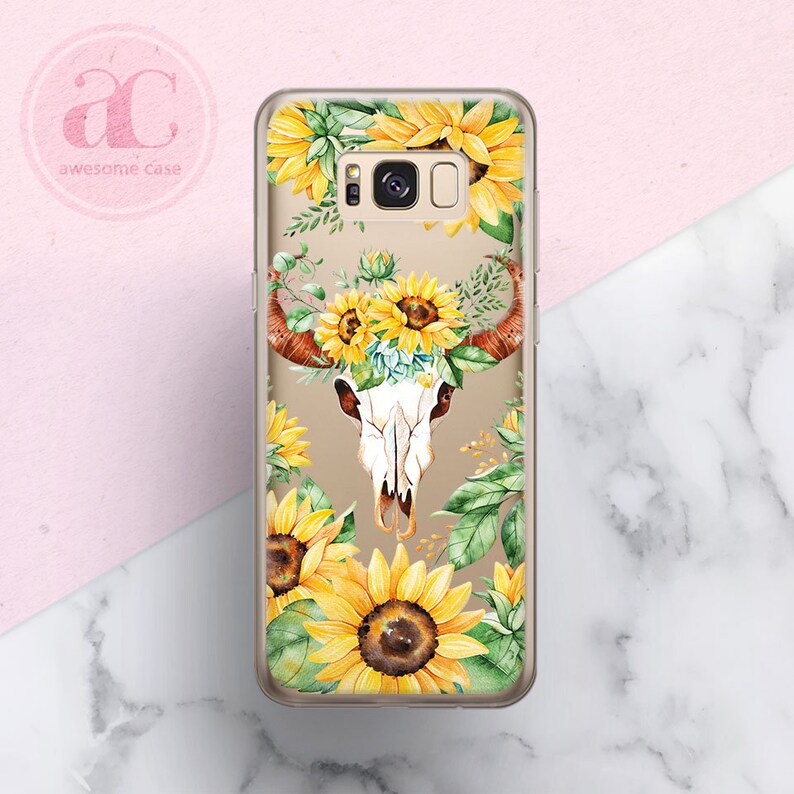 Sunflower Samsung S8 Case Samsung S9 Case Skull case Samsung S9 Plus Case Samsung S7 Case Clear case Samsung Note 9 case TPU Case Cow Skull