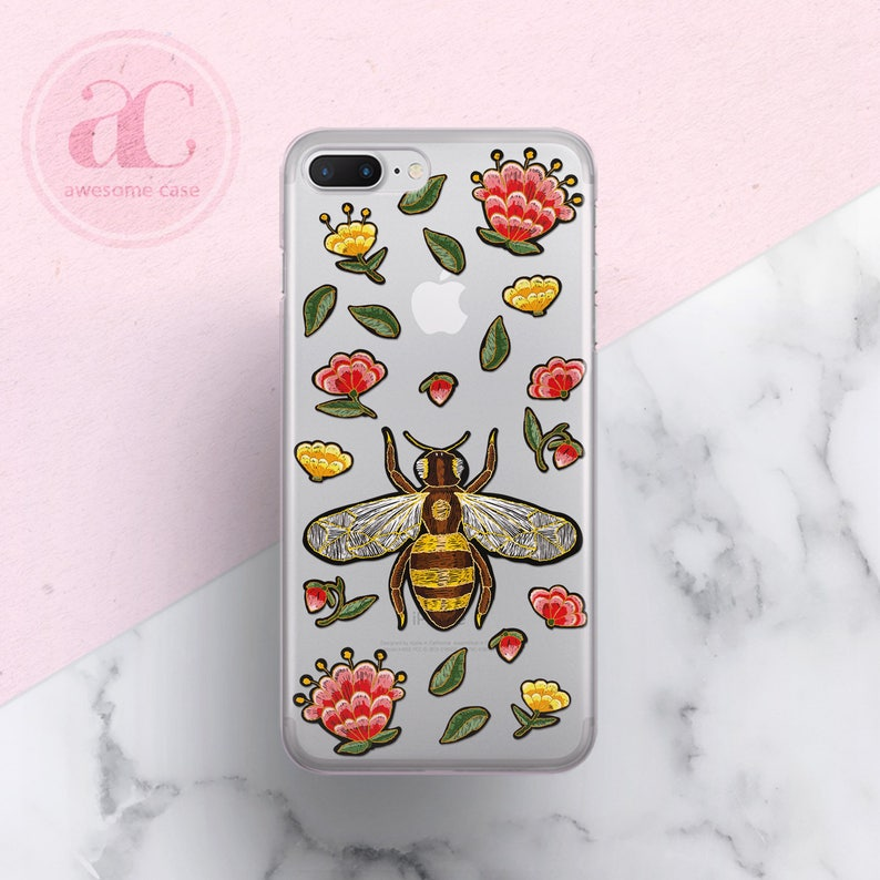 info for 4ad76 9d48b Bee Fashion iPhone 7 Case iPhone X Case Bee iPhone 7 Plus case iPhone 8  Plus Case Luxury iPhone XS Case iPhone 8 case Clear Case Samsung S8