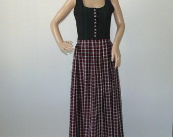 c989996a5a 90s Dirndl micro floral maxi dress Black red sleeveless dress Austrian Folk  dress Festival dress Size XS