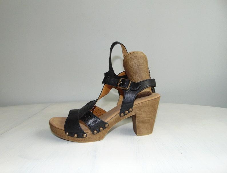 d60956f830f18 90s Platform ankle strap leather sandals Chunky black summer shoes Grunge  sandals Size 41/ US 10