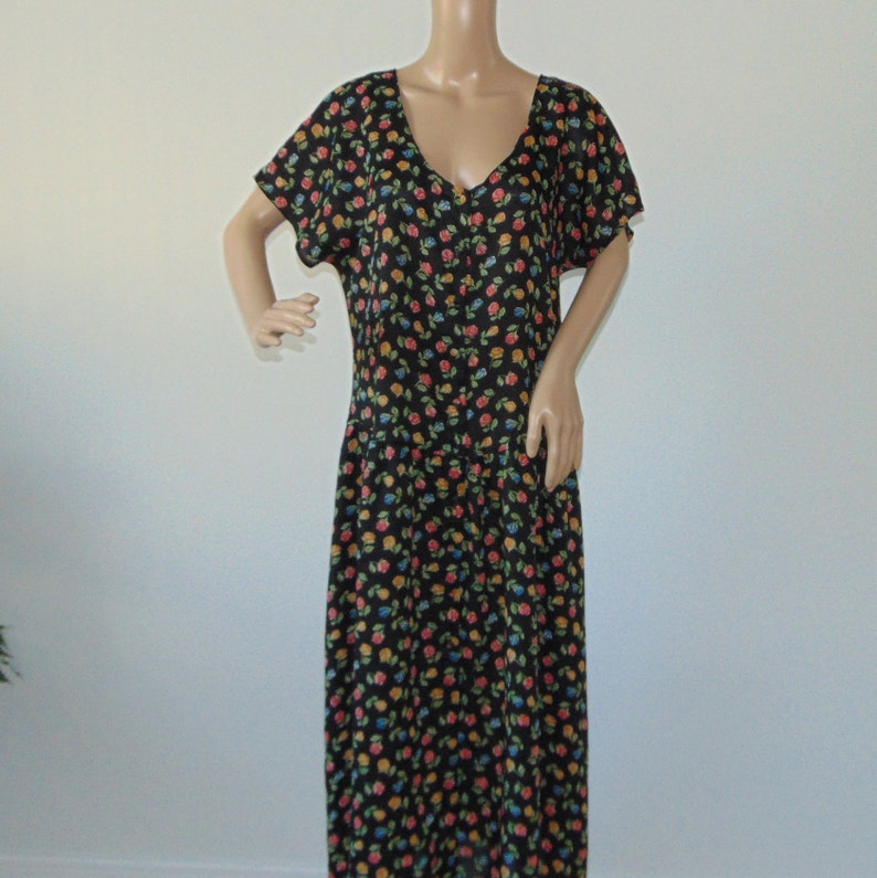 46188bda8b8 90s Transparent maxi dress Roses floral dress Button down