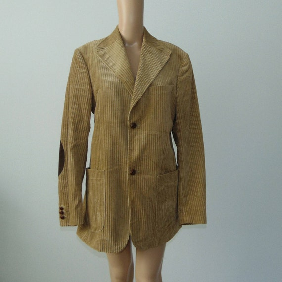 90s Men's corduroy blazer Beige corduroy jacket Co