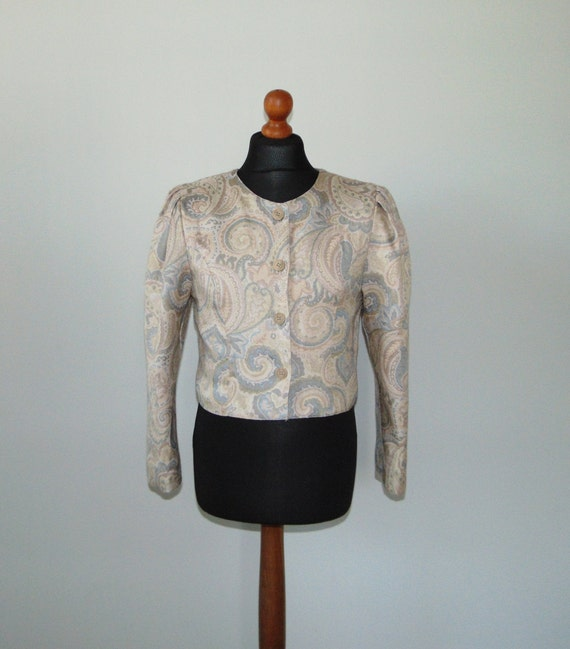 90s Pastel color crop jacket Paisley print summer