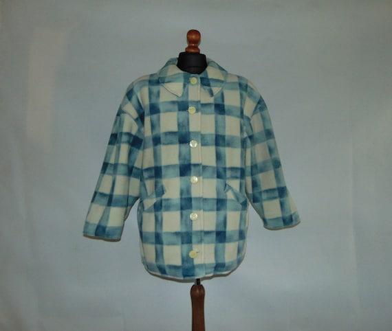 80s Italian plaid women's coat Button up oversized