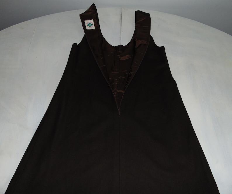 70s Wool country mini dress sundress Embroidered brown alpen folk dress Bavarian warm sleeveless dress A-line dress Size Medium