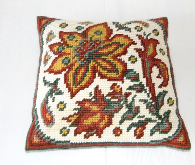 Vintage Floral Swedish embroidered pillow Handmade cushion image 0