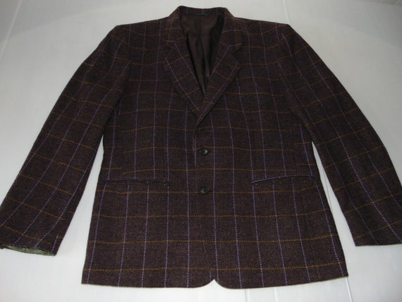 80s Ungaro Wool plaid jacket Purple men's blazer W