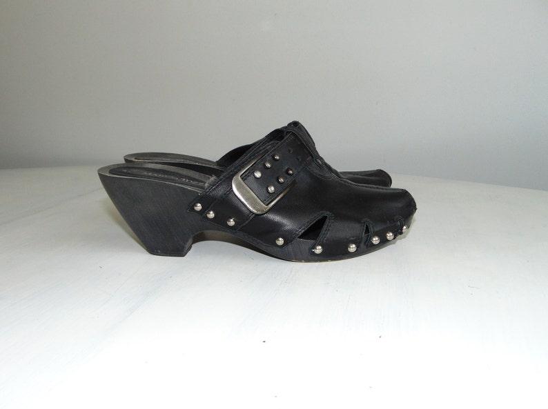 28811e72de268 90s MARCO TOZZI Leather platform sandals Heel sandal clogs Italian black  summer shoes Bohemian sandals Size 39 / US 8