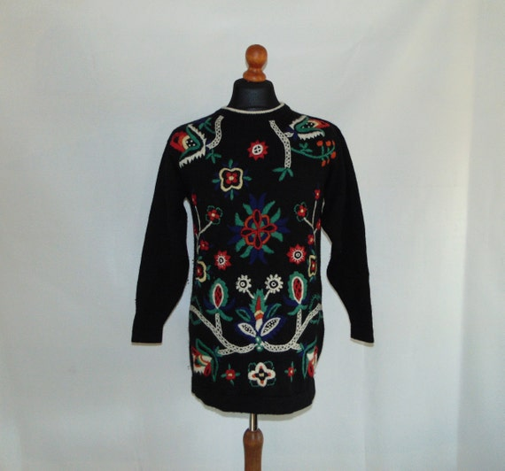 90s Black wool embroidered sweater tunic Oversized