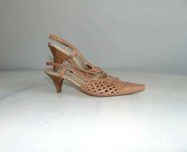 Wicker Leather Slingback Us 8 5 Summer Sandals Quintana Pons Shoes Heel High 90s Size 38 Woven mv80nNwO