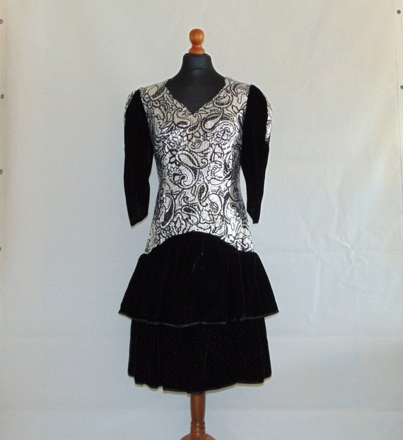 80s Velvet ruffle midi dress with sequins Black si