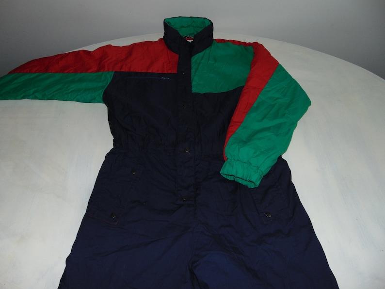 ad74021e9f 90s Men s cotton ski suit Ski wear onesie One piece Blue