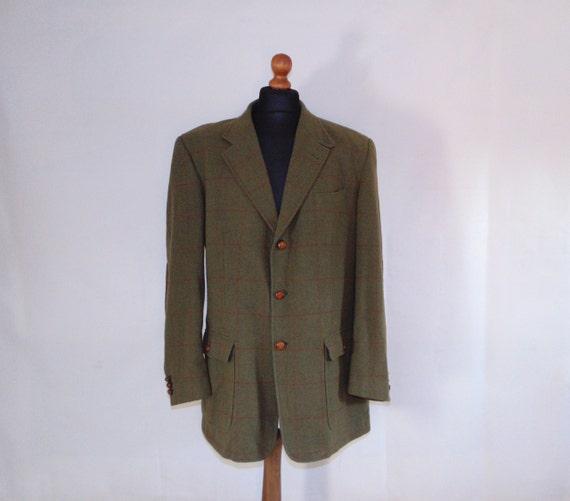 80s BOGNER Wool plaid jacket Khaki green men's bla