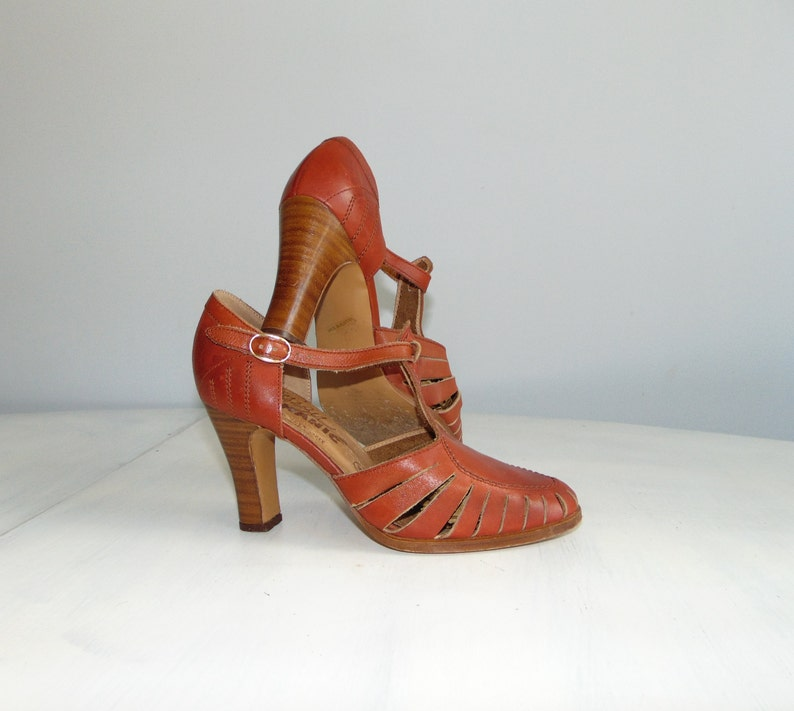 1af22514832b0 80s Mary Jane leather shoes Ballroom dance shoes Summer high heel sandals  Size 37 / US 6.5