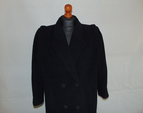 90s CANDA Wool maxi overcoat Dark blue women's coa