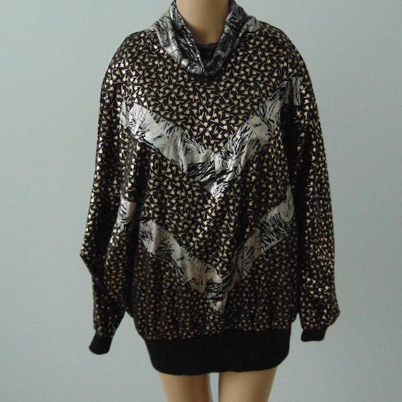 80s Gold metallic tunic Long sleeve disco blouse L