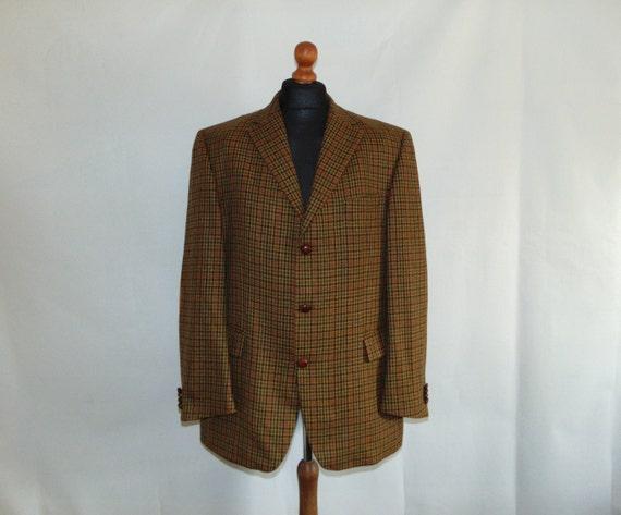80s Wool plaid men's blazer Houndstooth suit jacke