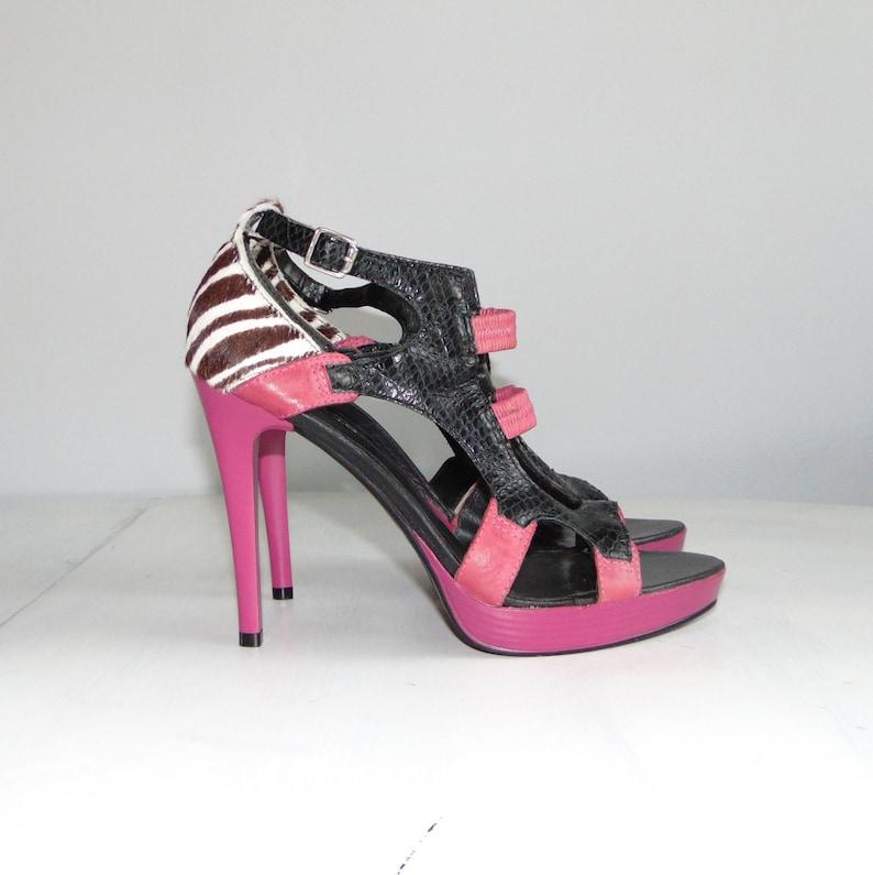 2a961998d3ee 90s Et Vous Leather high heel Stiletto shoes Platform Colorful | Etsy