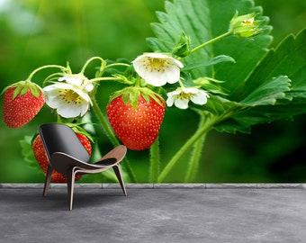 Strawberry Green Repositionable Wallpaper