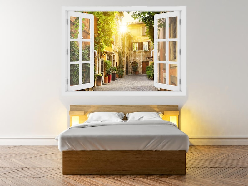 Vinyl Peel and Stick removable Home wall sticker O#63 Wall Decal Vinyl 3D window View of Old street in Trastevere in Rome 3D Wall Art