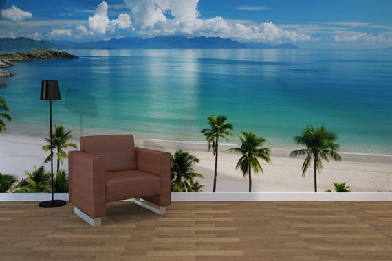 Tropical Beach Scene Photo Wallpaper Removable Wall Wallpaper Peel And Stick Non Woven Wall Mural Wall Decal Wall Mural Ocean W1
