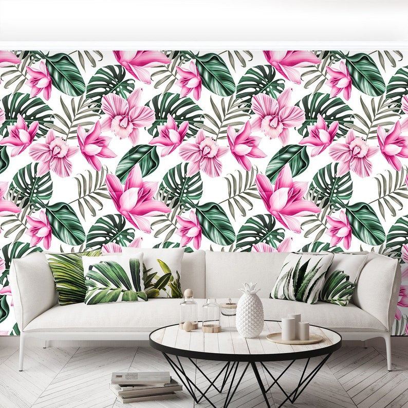 florid W#484 Hawaiian plant pattern Tropical flowers removable or traditional photo wallpaper californian wallcovering Tropical flower