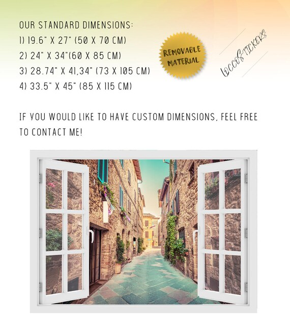 wall sticker 3D Wall Art italy O#62 Vinyl Peel and Stick removable Home italia 3D window Alley in old italian town Wall Decal Vinyl