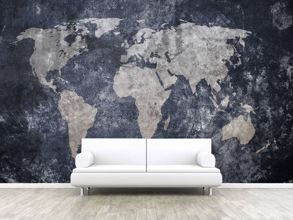 Old World Map Mural.Vintage Old World Map Self Adhesive Peel And Stick 3d Etsy