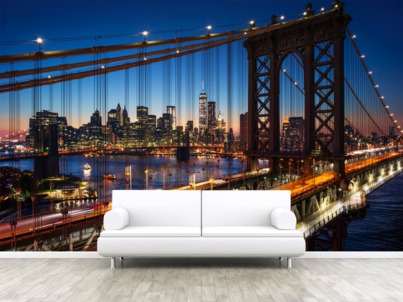 New York Brooklyn Bridge Photo Wallpaper Removable Wall Wallpaper Peel And Stick Non Woven Wall Mural Wall Decal Wall Mural W80