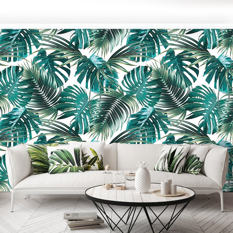 wallpaper Tropical palm leaves Palm leaves self adhesive or paste /& glue photo wall mural jungle pattern  removable wallpaper W#441