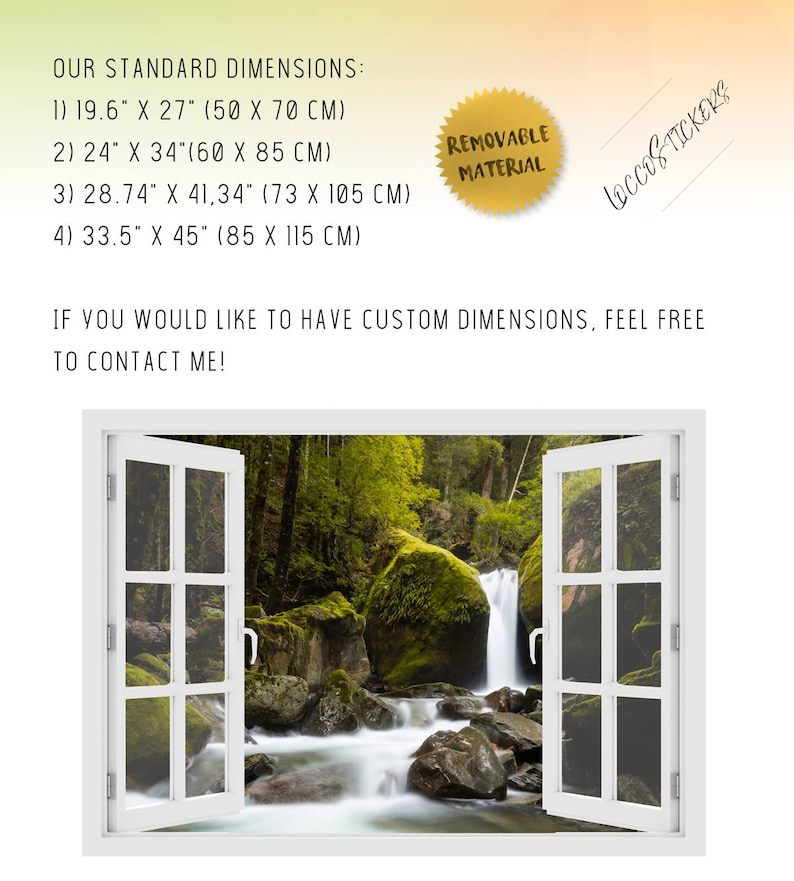 Vinyl Peel and Stick removable Home Wall Decal Vinyl wall sticker 3D Wall Art Australia 3D window Lower Chasm Falls O#11 nature