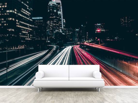 Freeway Street Of Los Angeles Photo Wallpaper Removable Wall Wallpaper Peel And Stick Non Woven Wall Mural Wall Decal Wall Mural W54