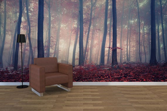fall W#95 Nature Peel and Stick Non Woven Red beech forest Wall Decal Wall Mural Removable Wall Wallpaper Photo Wallpaper Wall Mural