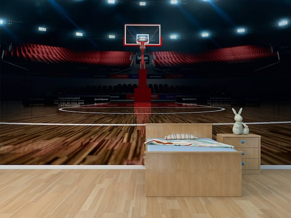 Basketball Court Photo Wallpaper Removable Wall Wallpaper Peel And Stick Non Woven Wall Mural Wall Decal Wall Mural Sport Arena W 18