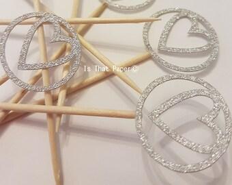 Silver Glitter Heart Cupcake Picks / Cake Decoration / Engagement Celebration / Wedding Cakes / Handmade