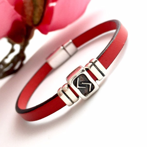 Norse Rune Runic Jewelry Viking Bracelet Leather Runic Bracelet Eihwaz Rune Bracelet Sterling Silver Eihwaz Rune