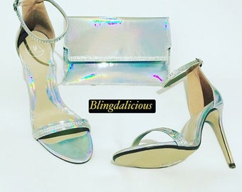 1af9f1465fe1 Customised Iridescent Silver Slinky and Sparkling 11cm heels with matching  iridescent clutch bag. Shoe size  UK 6   EU 39.