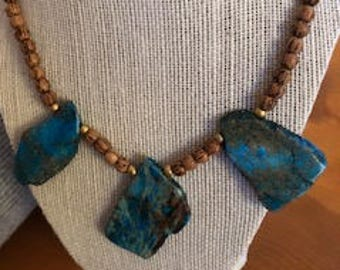 Large Turquoise Color Stones and Wood Bead Statement Necklace